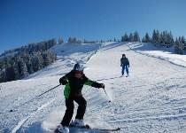 Großansicht Junge Skifahrer auf der Piste